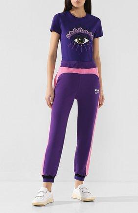Женская хлопковая футболка KENZO фиолетового цвета, арт. FA52TS7334YD | Фото 2
