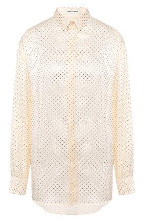 Женская шелковая рубашка SAINT LAURENT белого цвета, арт. 611900/Y4A13 | Фото 1