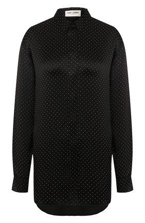 Женская шелковая рубашка SAINT LAURENT черного цвета, арт. 611900/Y4A13   Фото 1 (Статус проверки: Проверена категория; Рукава: Длинные; Материал внешний: Шелк; Принт: С принтом; Длина (для топов): Удлиненные; Женское Кросс-КТ: Рубашка-одежда)