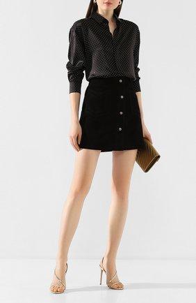 Женская шелковая рубашка SAINT LAURENT черного цвета, арт. 611900/Y4A13   Фото 2 (Статус проверки: Проверена категория; Рукава: Длинные; Материал внешний: Шелк; Принт: С принтом; Длина (для топов): Удлиненные; Женское Кросс-КТ: Рубашка-одежда)