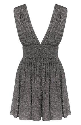 Женское шелковое платье SAINT LAURENT серебряного цвета, арт. 607484/Y3A60 | Фото 1