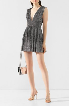 Женское шелковое платье SAINT LAURENT серебряного цвета, арт. 607484/Y3A60 | Фото 2