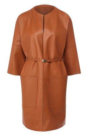 Женское кожаное пальто KITON бежевого цвета, арт. D49671X08S55 | Фото 1
