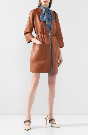 Женское кожаное пальто KITON бежевого цвета, арт. D49671X08S55 | Фото 2
