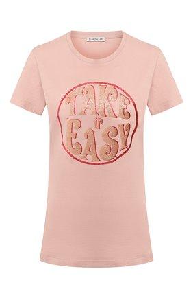 Женская хлопковая футболка MONCLER розового цвета, арт. F1-093-8C728-10-V8094 | Фото 1