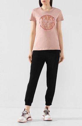 Женская хлопковая футболка MONCLER розового цвета, арт. F1-093-8C728-10-V8094 | Фото 2
