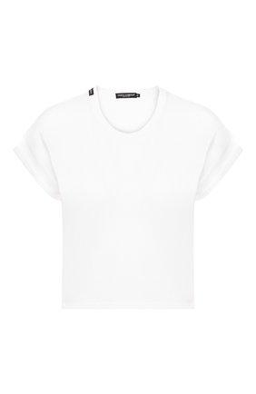Женская хлопковая футболка DOLCE & GABBANA белого цвета, арт. F8M00T/FU7EQ | Фото 1