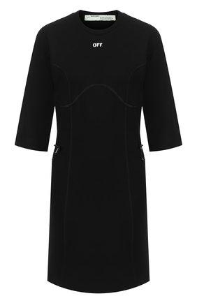 Женское хлопковое платье OFF-WHITE черного цвета, арт. 0WDB222R20H840951001 | Фото 1