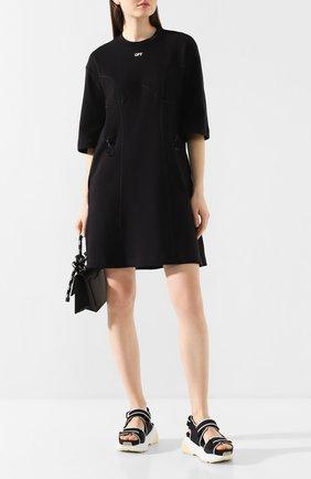 Женское хлопковое платье OFF-WHITE черного цвета, арт. 0WDB222R20H840951001 | Фото 2