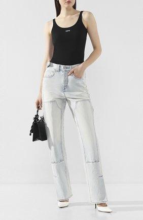 Женские джинсы OFF-WHITE голубого цвета, арт. 0WYA017R207730687100 | Фото 2