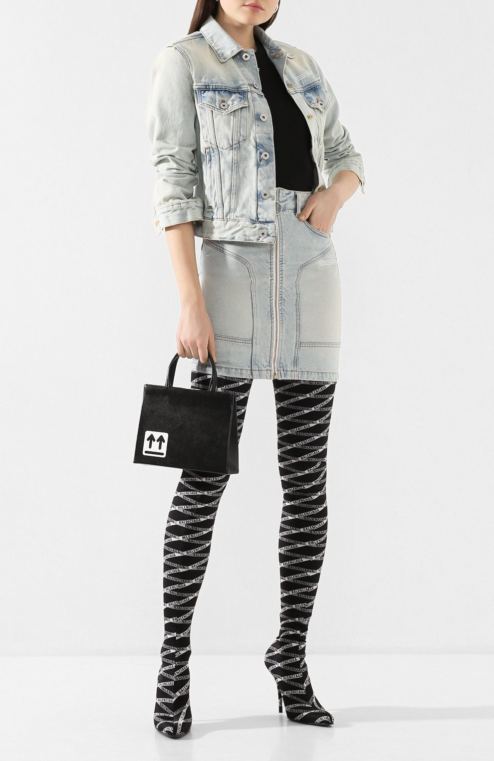 Женская джинсовая куртка OFF-WHITE голубого цвета, арт. 0WYE012R207730687100 | Фото 2