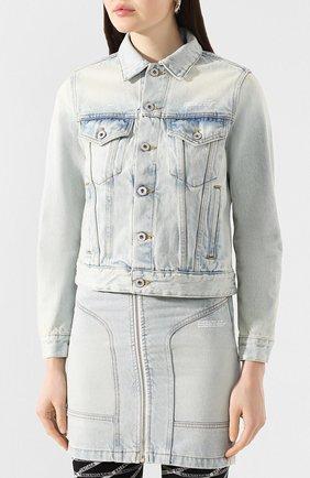 Женская джинсовая куртка OFF-WHITE голубого цвета, арт. 0WYE012R207730687100 | Фото 3