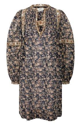 Женское хлопковое платье ISABEL MARANT ETOILE темно-синего цвета, арт. R01591-20P028E/VIRGINIE   Фото 1