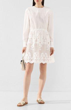 Женское хлопковое платье SEE BY CHLOÉ белого цвета, арт. CHS20SR009022 | Фото 2