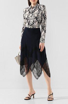Женская юбка из смеси вискозы и шелка SEE BY CHLOÉ синего цвета, арт. CHS20SJU03014 | Фото 2