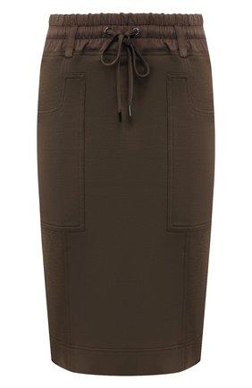 Женская юбка из смеси шелка и хлопка TOM FORD хаки цвета, арт. GCJ258-FAX468 | Фото 1
