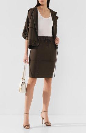 Женская юбка из смеси шелка и хлопка TOM FORD хаки цвета, арт. GCJ258-FAX468 | Фото 2