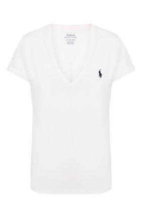 Женская хлопковая футболка POLO RALPH LAUREN белого цвета, арт. 211810419 | Фото 1
