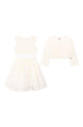 Детское комплект из платья и жакета IL GUFO бежевого цвета, арт. P20VX000N5025/5A-8A | Фото 1