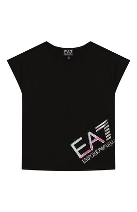 Детская хлопковая футболка EA 7 черного цвета, арт. 3HFT54/FJ22Z | Фото 1