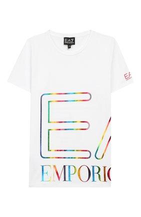 Детская хлопковая футболка EA 7 белого цвета, арт. 3HFT53/FJ6EZ | Фото 1