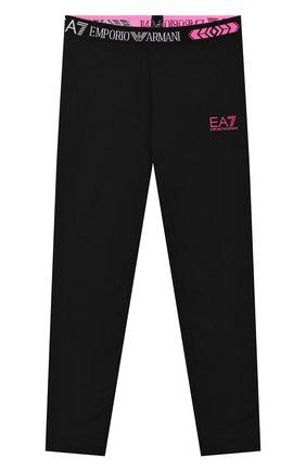 Детского хлопковые леггинсы EA 7 черного цвета, арт. 3HFP52/FJ01Z | Фото 1