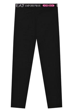 Детского хлопковые леггинсы EA 7 черного цвета, арт. 3HFP52/FJ01Z | Фото 2