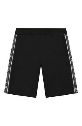 Детские хлопковые шорты EA 7 черного цвета, арт. 3HBS54/BJ05Z | Фото 1