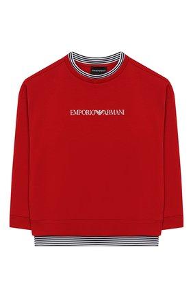 Детский хлопковый свитшот EMPORIO ARMANI красного цвета, арт. 3H4M62/4JGRZ   Фото 1