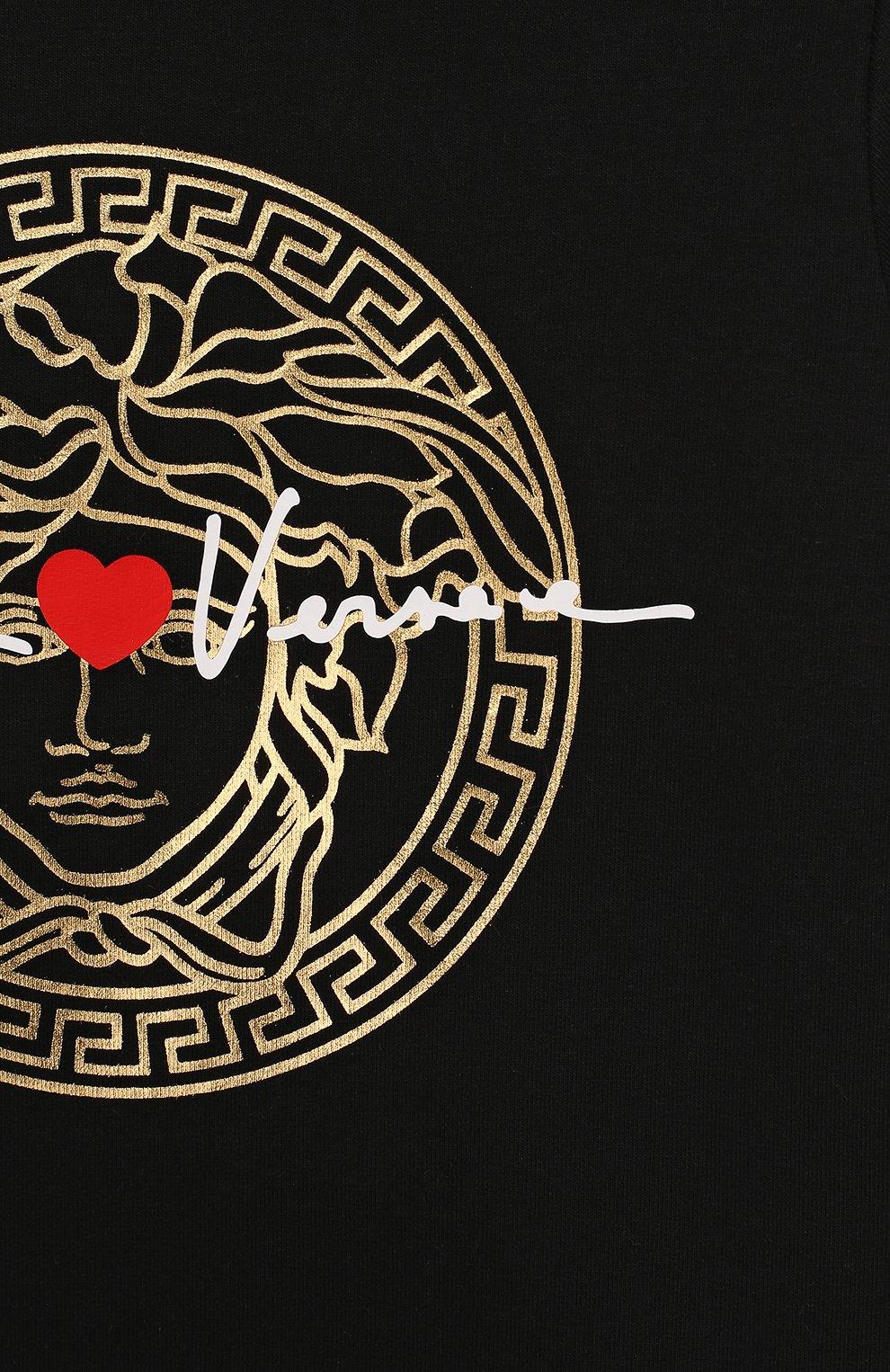 Женский хлопковое платье VERSACE черного цвета, арт. YA000143/YA00077 | Фото 3