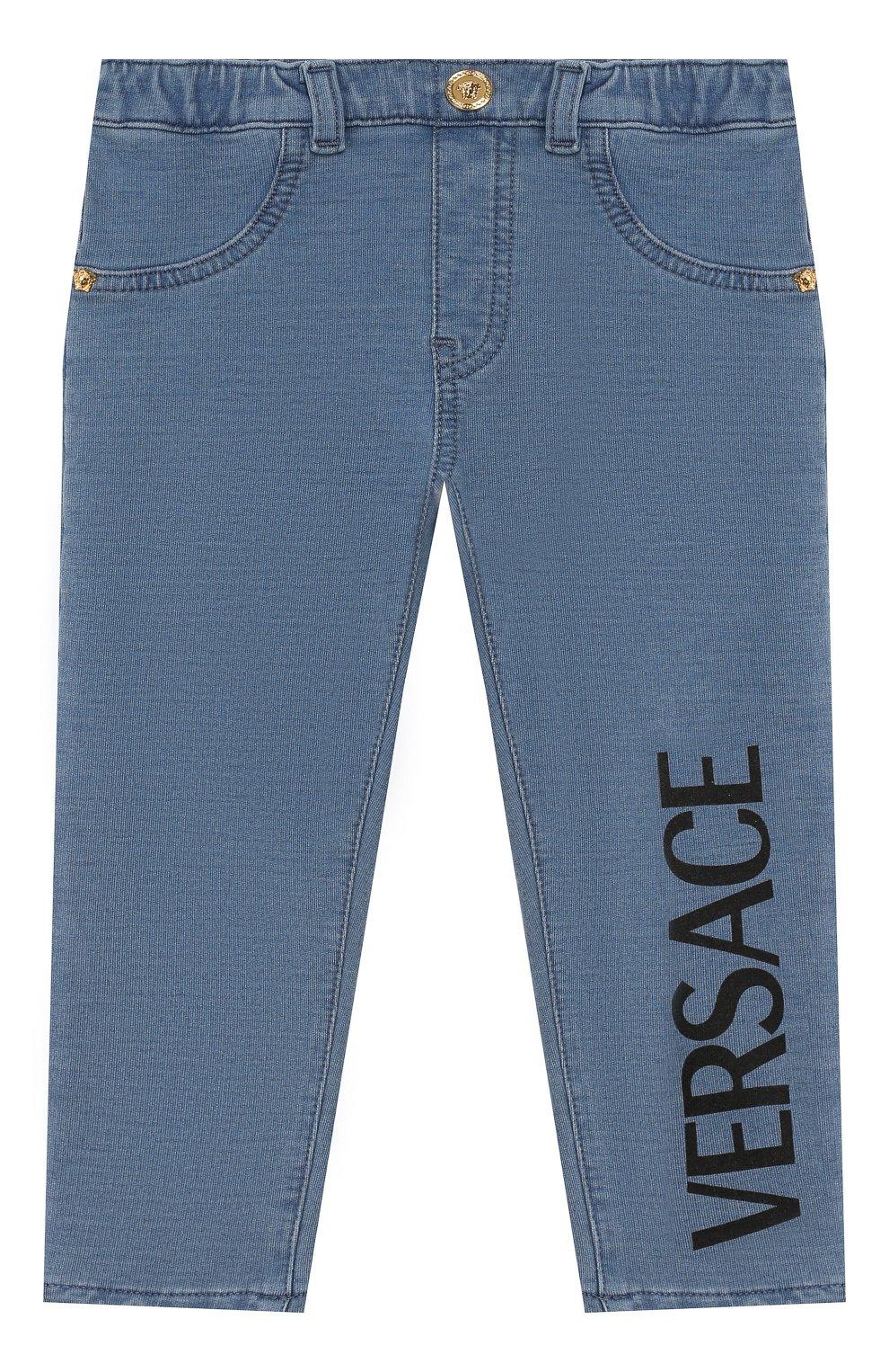 Детские хлопковые брюки VERSACE голубого цвета, арт. YB000124/A233587   Фото 1
