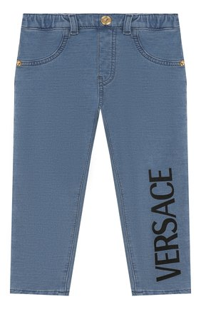 Детские хлопковые брюки VERSACE голубого цвета, арт. YB000124/A233587 | Фото 1
