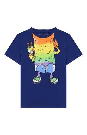 Детская хлопковая футболка STELLA MCCARTNEY синего цвета, арт. 588484/S0JG2 | Фото 1