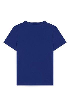 Детская хлопковая футболка STELLA MCCARTNEY синего цвета, арт. 588484/S0JG2 | Фото 2