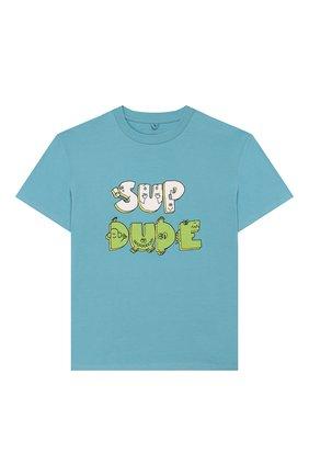 Детская хлопковая футболка STELLA MCCARTNEY голубого цвета, арт. 588492/S0JA6 | Фото 1