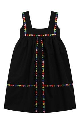 Детское платье из льна и хлопка STELLA MCCARTNEY черного цвета, арт. 589368/S0KC6 | Фото 1