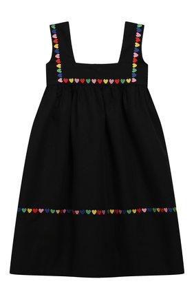 Детское платье из льна и хлопка STELLA MCCARTNEY черного цвета, арт. 589368/S0KC6 | Фото 2