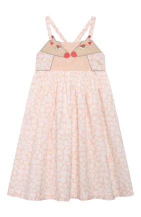 Детское хлопковый сарафан STELLA MCCARTNEY бежевого цвета, арт. 596504/S0K72 | Фото 1