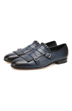 Мужские кожаные монки SANTONI темно-синего цвета, арт. MCNC13663LA3SDPSU49   Фото 1