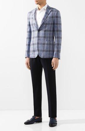 Мужские кожаные монки SANTONI темно-синего цвета, арт. MCNC13663LA3SDPSU49   Фото 2