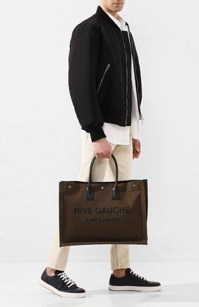 Мужская текстильная сумка-тоут rive gauche SAINT LAURENT хаки цвета, арт. 509415/G0A4D | Фото 2