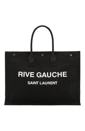 Мужская текстильная сумка-тоут rive gauche SAINT LAURENT черно-белого цвета, арт. 509415/HZP5D | Фото 1