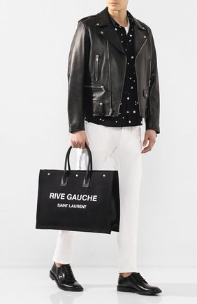 Мужская текстильная сумка-тоут rive gauche SAINT LAURENT черно-белого цвета, арт. 509415/HZP5D | Фото 2