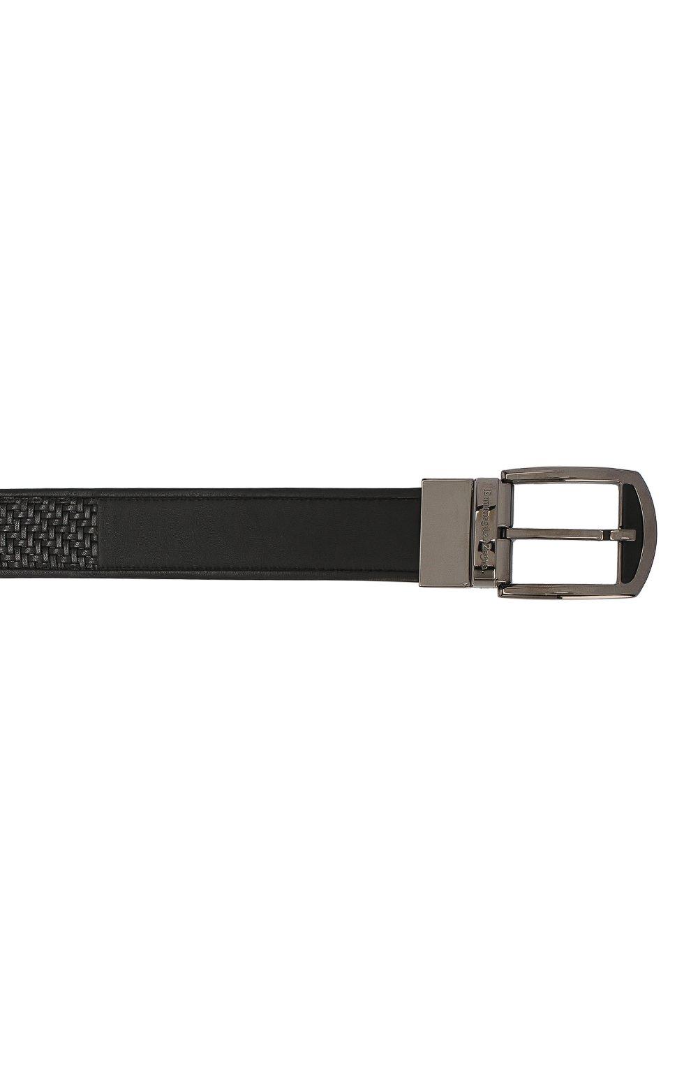 Мужской кожаный ремень ERMENEGILDO ZEGNA черного цвета, арт. BPTAW6/401A | Фото 3