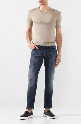 Мужские кожаные слипоны BOTTEGA VENETA темно-синего цвета, арт. 608751/VT031 | Фото 2