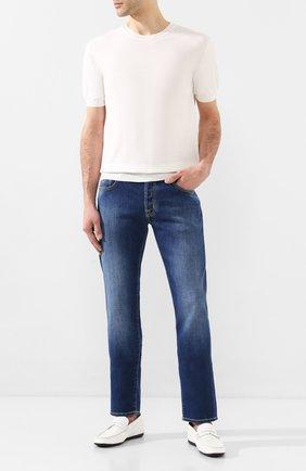 Мужские кожаные пенни-лоферы MORESCHI белого цвета, арт. 41969/MY | Фото 2