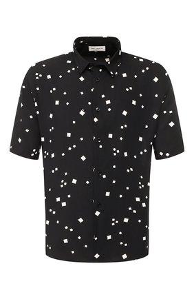 Мужская рубашка из вискозы SAINT LAURENT черного цвета, арт. 601070/Y1A79 | Фото 1