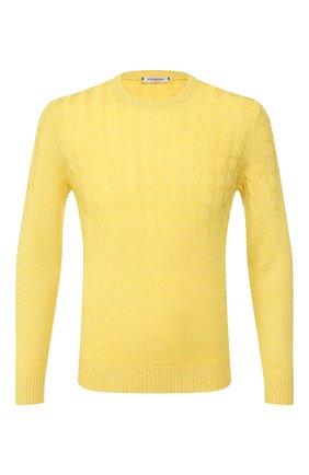 Мужской джемпер из смеси кашемира и льна FIORONI желтого цвета, арт. MK20120A1 | Фото 1
