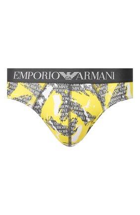 Мужские хлопковые брифы EMPORIO ARMANI желтого цвета, арт. 110814/0P508 | Фото 1