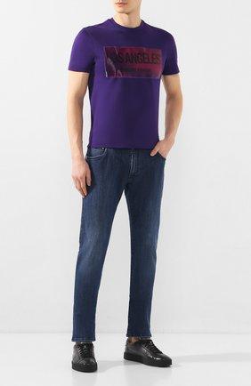 Мужская хлопковая футболка EMPORIO ARMANI фиолетового цвета, арт. 3H1T62/1J30Z | Фото 2